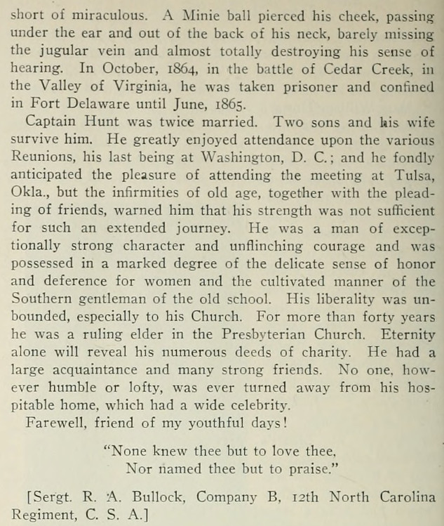 SOURCE:Confederate Veteran Magazine, August, 1919